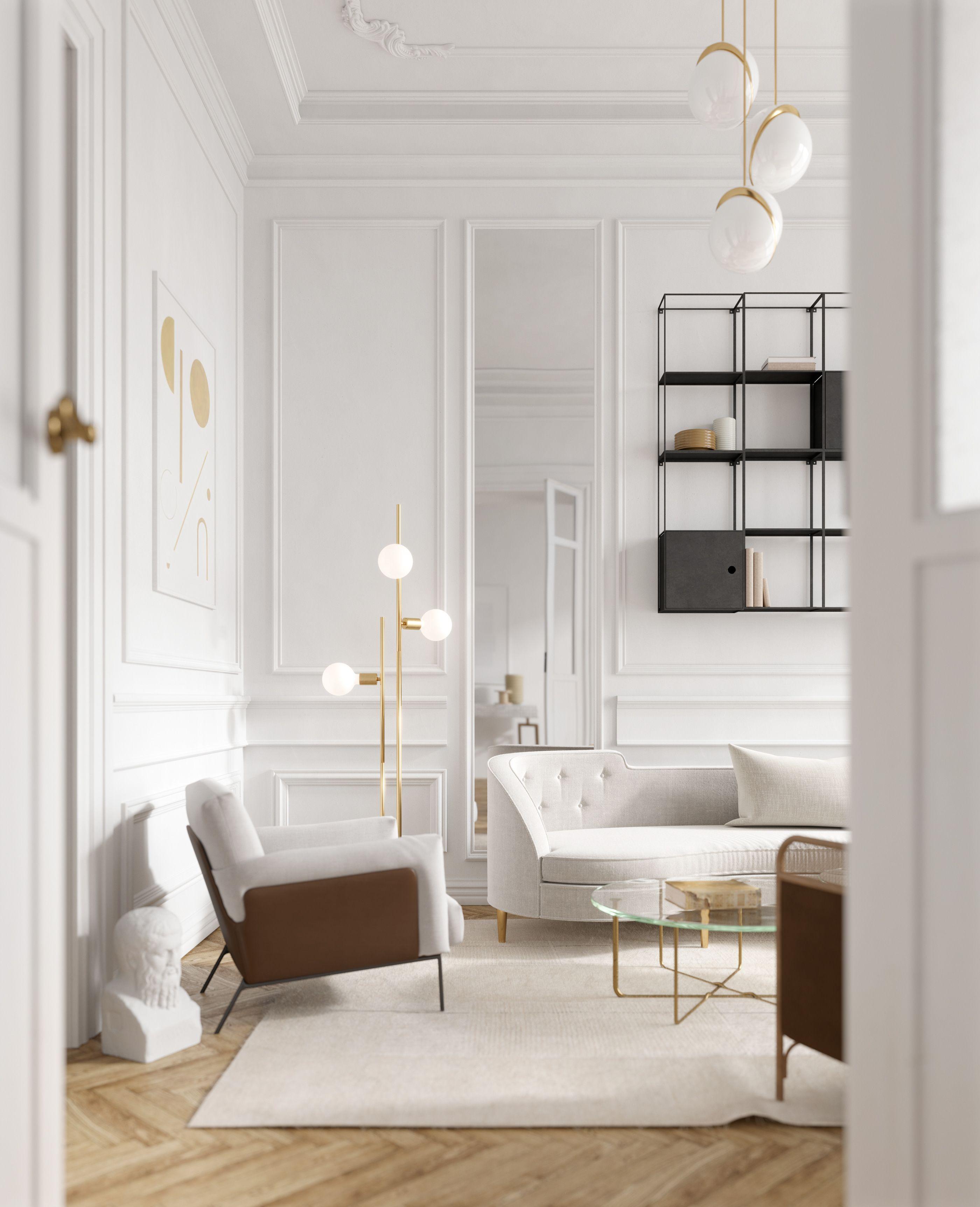 Living Decor White Gold Grey Brown On Behance Modern Classic Interior Classic Modern Living Room Living Room Modern
