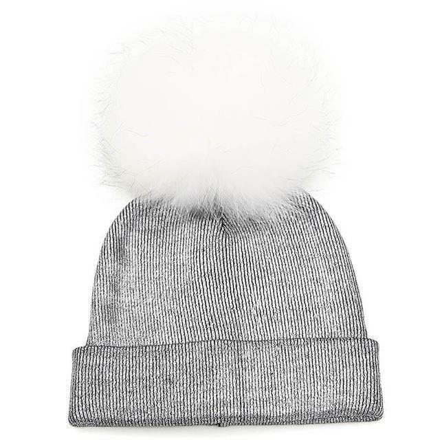 Women\'s Fur Pompom Beanies Hats Solid Metallic Knitted Skullies Soft ...