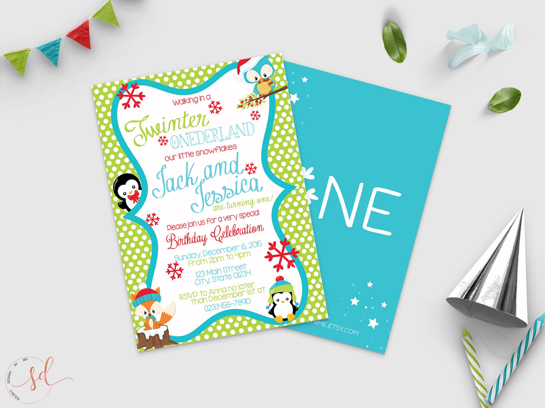 Twinter ONEderland Birthday Invitation, Winter ONE-derland Theme ...