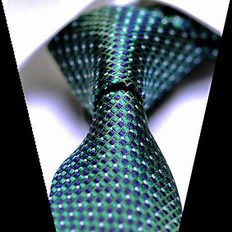 Skinny Silk Tie Navy Blue Green White Plaids Patterned Necktie - Silk Tie - Ties / Men's Tie - Wedding Tie - Necktie