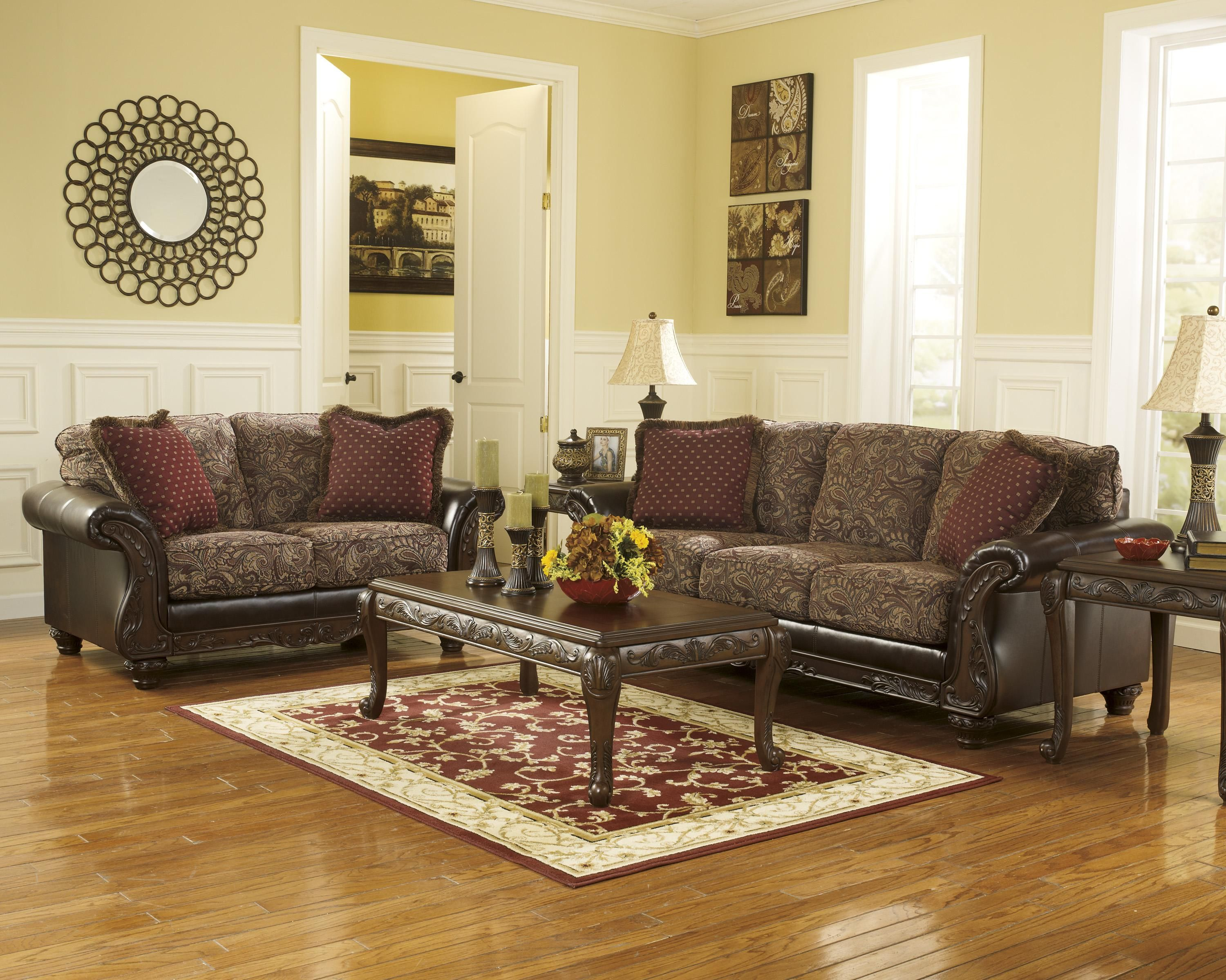 macneill umber stationary living room group by benchcraft