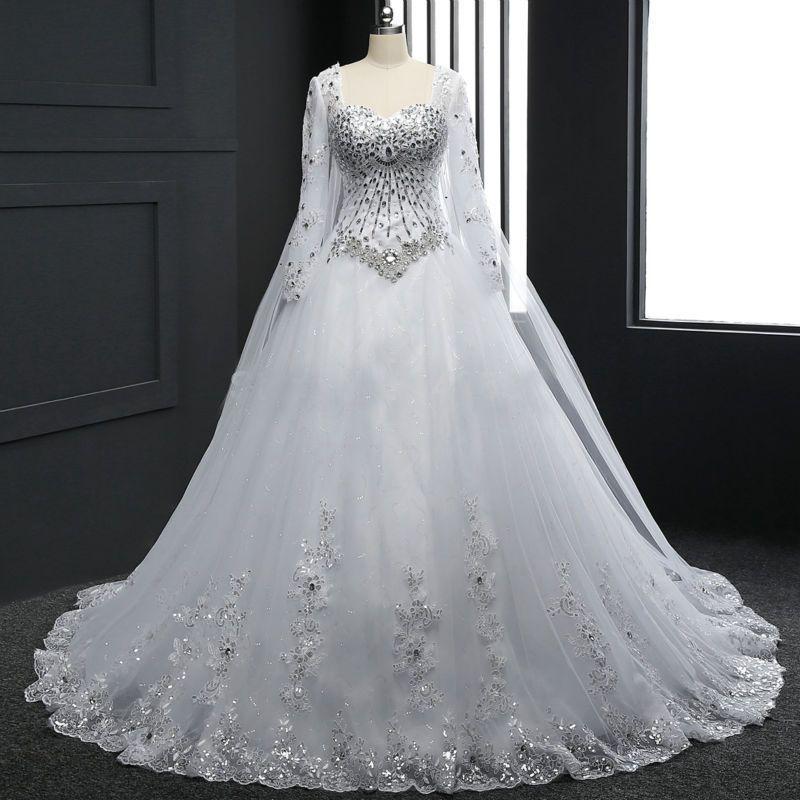 Neue Weiß A-Linie Spitze Langarm Brautkleider Hochzeitskleid ...