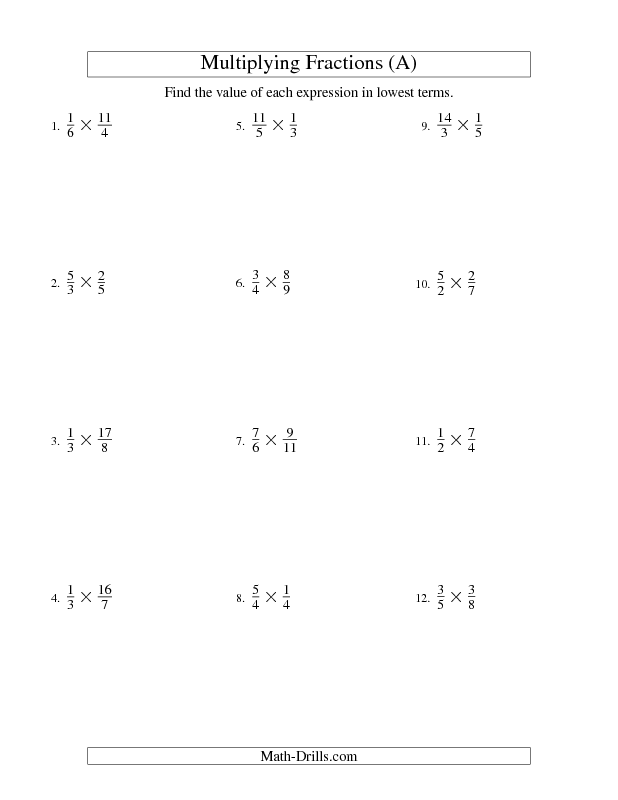 Fractions Worksheet -- Multiplying and Simplifying Proper and ...