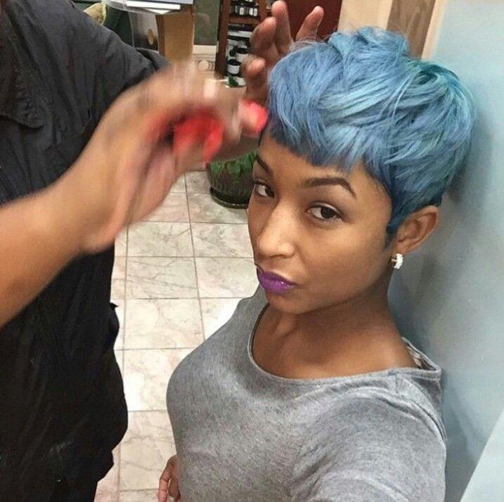 Light Blue Pixie Haircut Short Hair Dont Care Pinterest Pixie