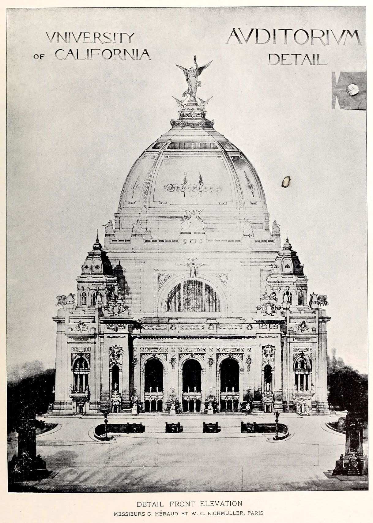 Front Elevation Antique : Front elevation of the proposed auditorium building for