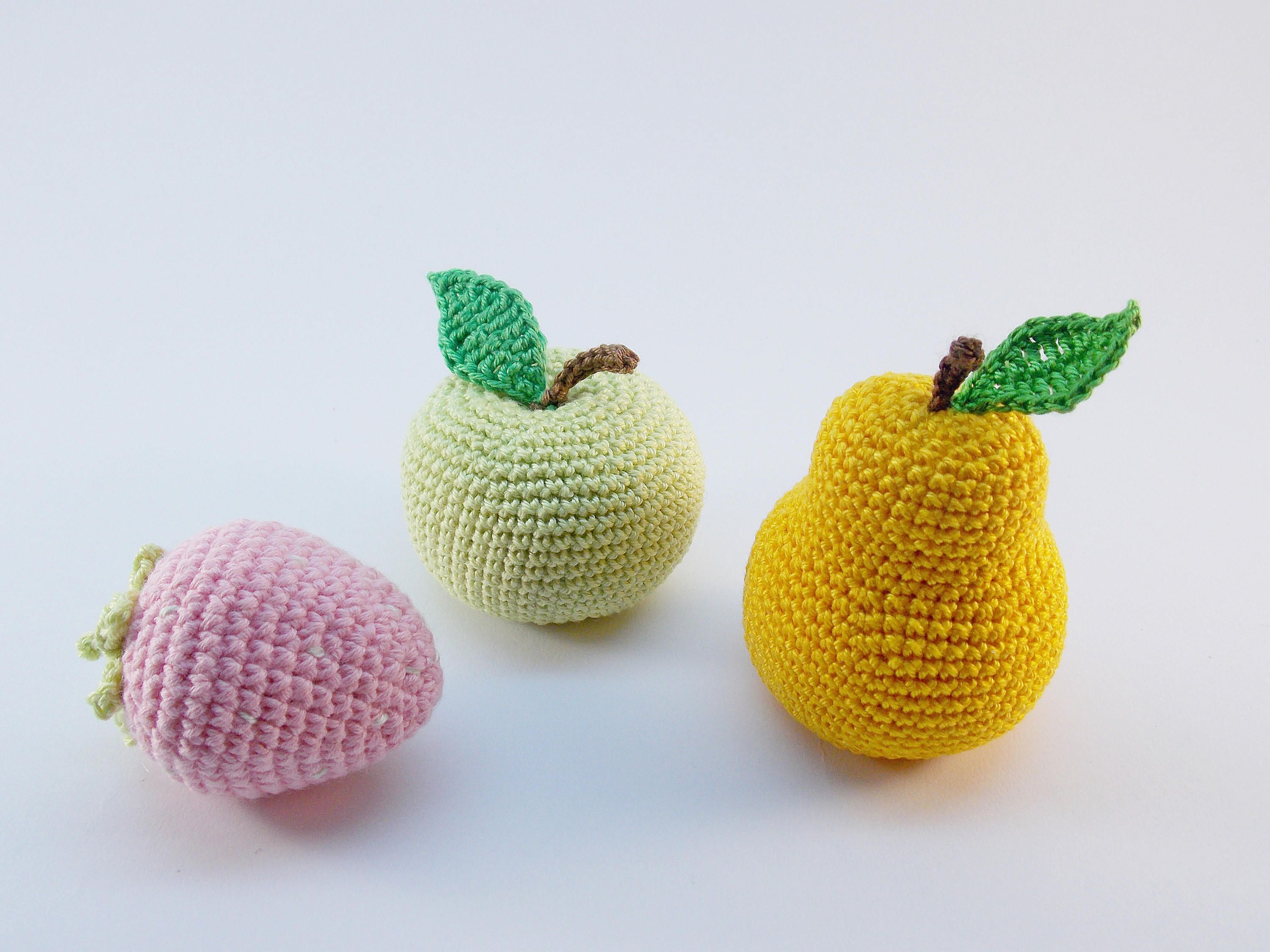 3pieces Crochet fruits Sensory toys kids learning toys baby