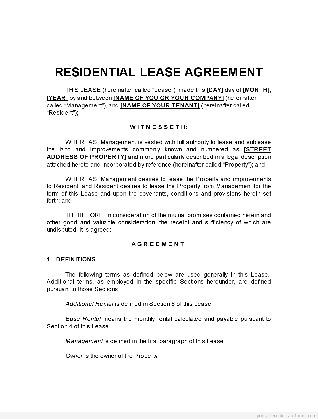 Sample Printable Pro Landlord Monster Lease Form  Sample Real