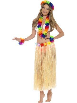 2019 LADIES HAWAIIAN HULA SKIRT HEADBAND WRISTBANDS LEI BRA FANCY DRESS COSTUME,