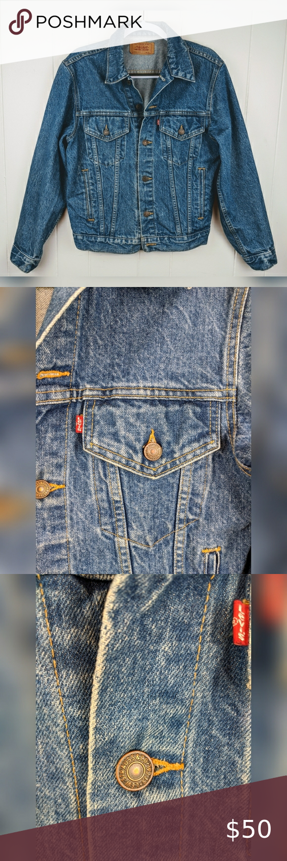 Men's Vintage Levi's Denim Jean Trucker Jacket, 40 Item: Men's Vintage Levi's Denim Jean Trucker Jacket Style No: 70506 0214 Size: 40 (please check measurements as vintage sizes vary from current ones) Color: Medium blue wash Condition: Excellent, just a very small snag on left sleeve (see pic # 6) Features: Thick vintage denim material, button down front, side and front pockets.Made in the USA.  *Measurements are approximate Chest: 40