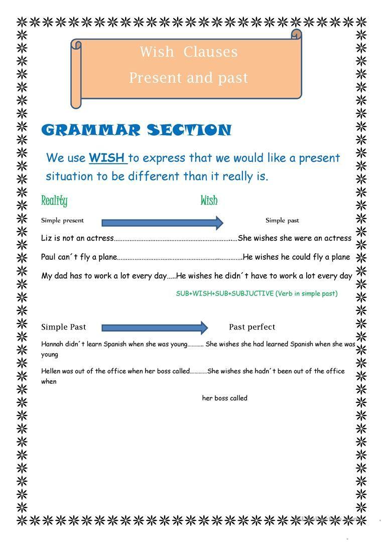 worksheet Present Subjunctive Worksheet wish present and past worksheet free esl printable worksheets made by teachers
