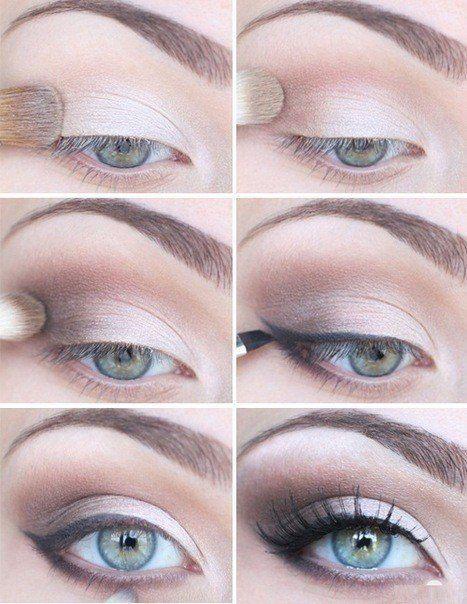 Макияж глаз с голубыми тенями для блондинок