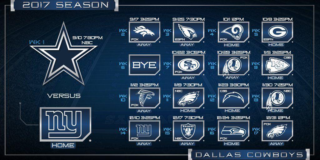 The 2017 DallasCowboys schedule Dallas cowboys funny