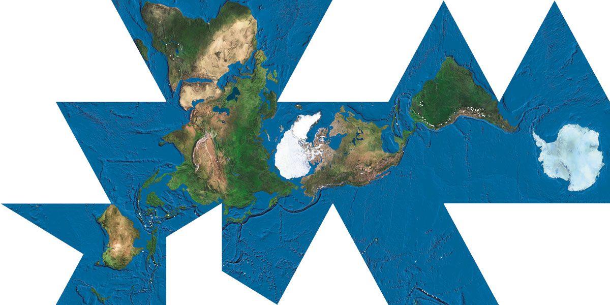 dymaxion map satellite with ocean floor