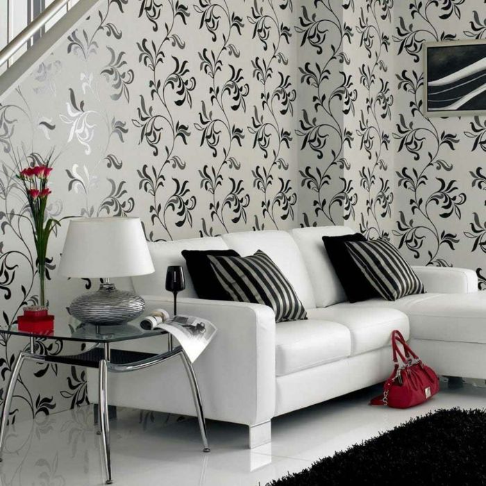 Muster Schwarz-Weiß wandgestaltung mit Farbe Einrichtungsbeispiele - einrichtung wohnzimmer weis