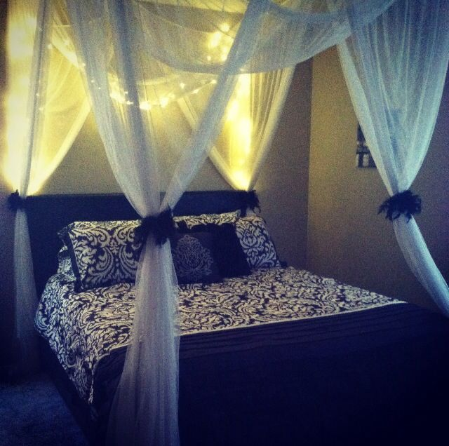 Lighted Romantic Bed Canopy & Lighted Romantic Bed Canopy | HOME DECORATiON | Bed lights Bedroom ...