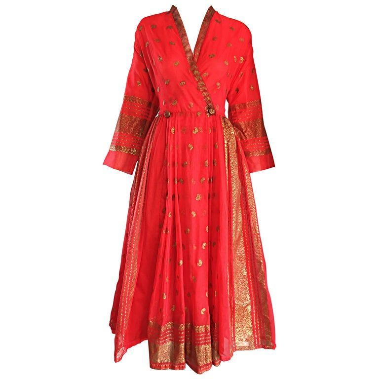 Vintage Maxan 1950s Red And Gold Hand Painted Silk Kimono Style 50s Wrap Dress In 2020 Kimono Fashion Silk Dress Vintage Red Silk Dress