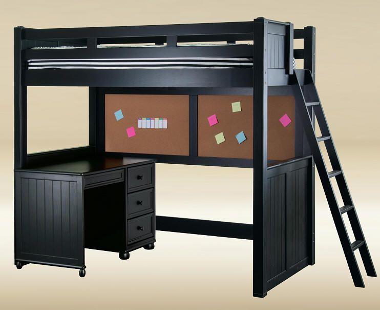 Mobili loft ~ Eberhardt black full size college loft bed thebeanbagstore