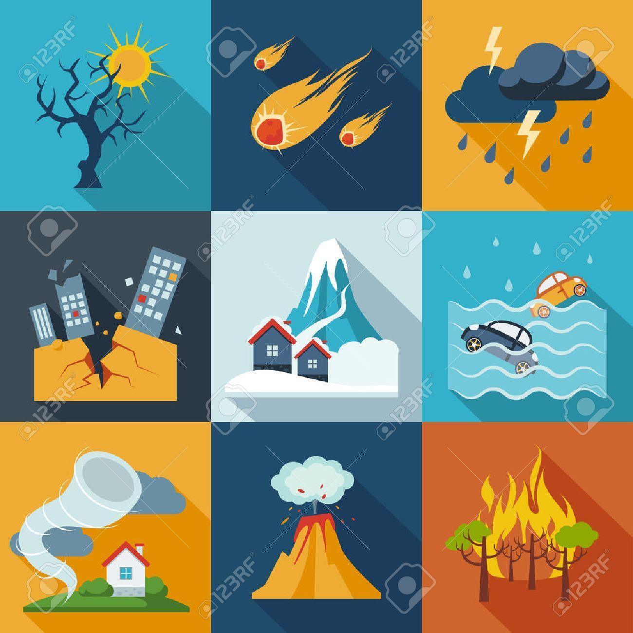 A set of natural disaster icons Natural disasters