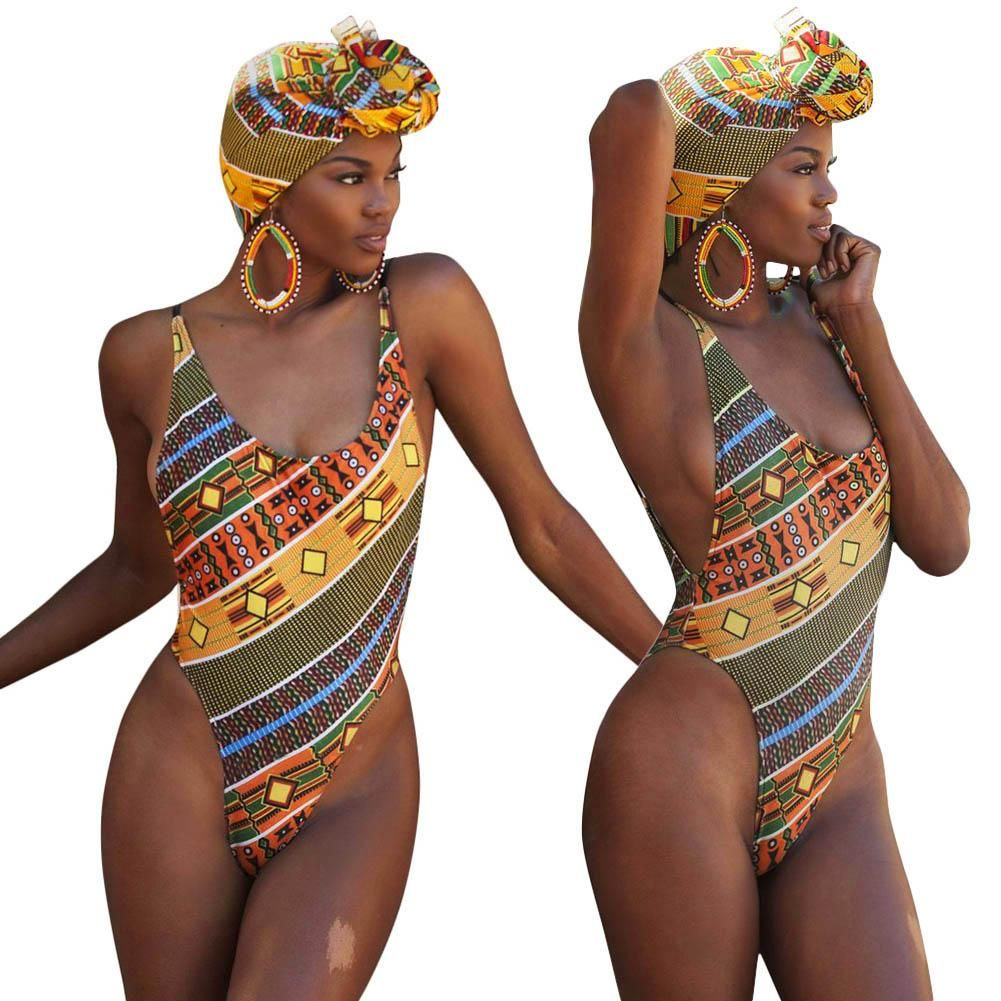 4d2a00f97b New Sexy One-piece Swimsuit European African Ethnic Padded Print Beach  Swimming Wear Women Backless Swimsuit Hot Sale