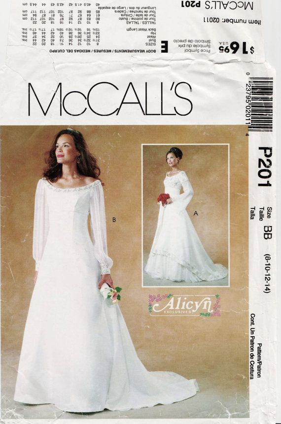 Wedding Dress Pattern, McCalls P201 sz 8-14 b 31.5-36 UNCUT ...