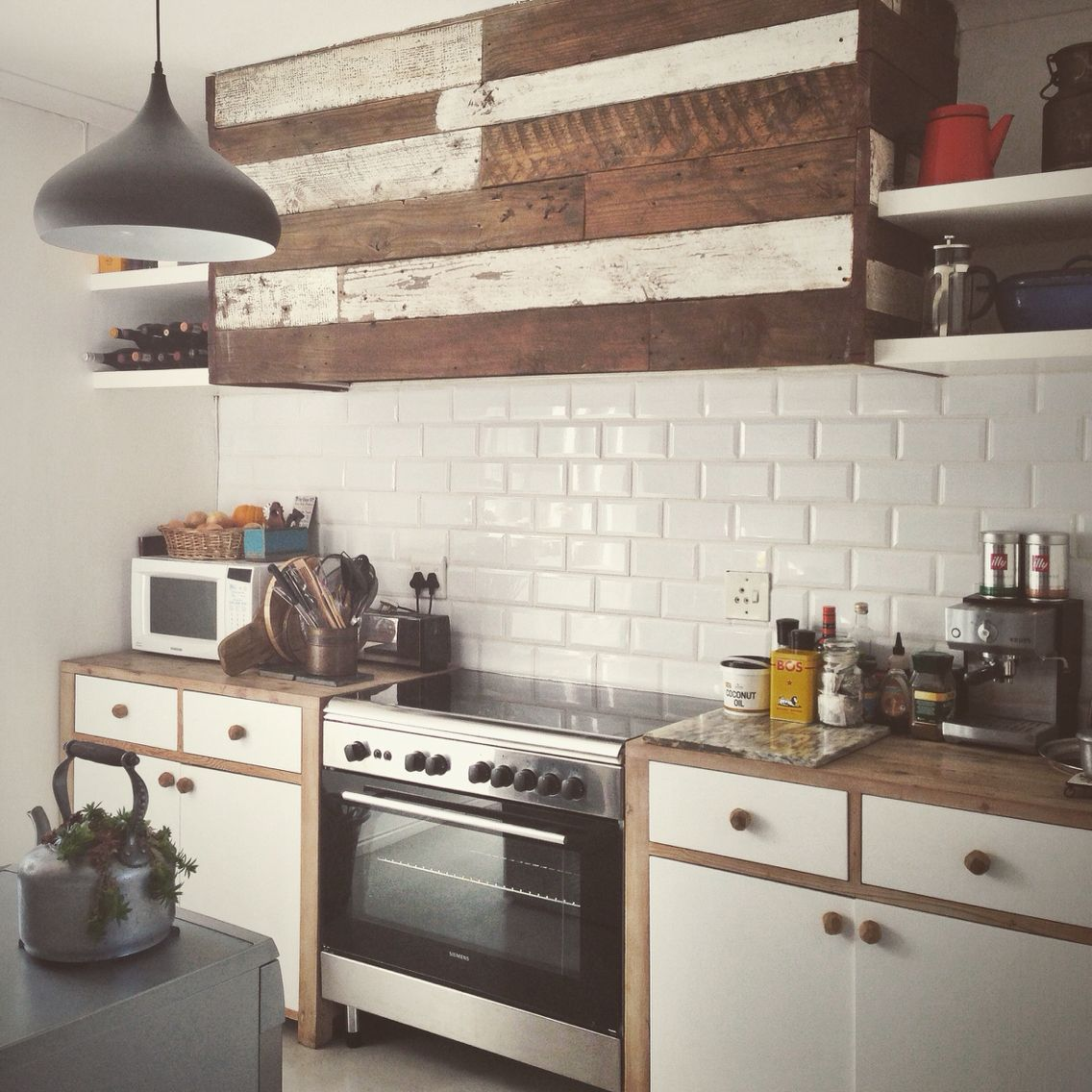 My Kitchen Units In Repurposed Bleached Oregon Pine And Cladded Extractor Unit By The Furniture Factory