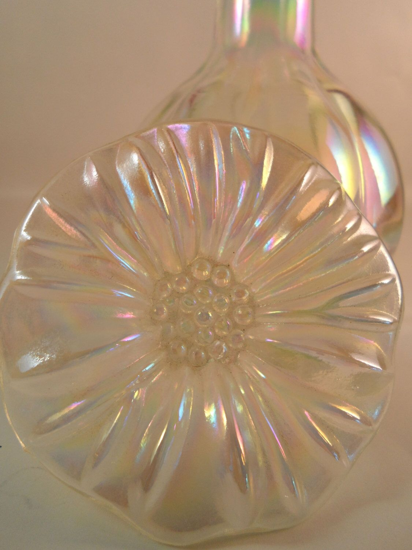 Vintage Iridescent Glass Flower Perfume Bottle Vintage Home Decor Vintage Perfume Bottles Bedroom Vanity by NowAndThenHomeDecor on Etsy https://www.etsy.com/listing/167990137/vintage-iridescent-glass-flower-perfume