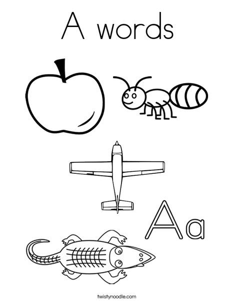 A Words Coloring Page  Twisty Noodle  Alphabet Board