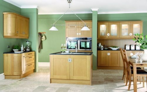 Image Of Green Kitchen With Oak Cabinets Colors Of The Kitchen