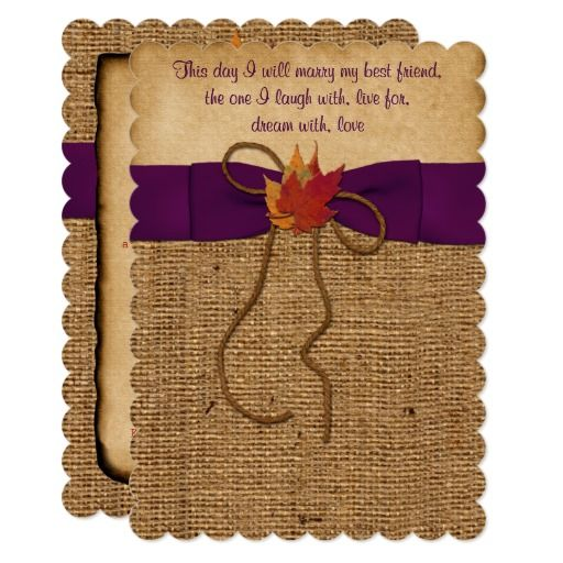 Fall Leaves Faux Burlap Wedding Invite Purple Purple Wedding