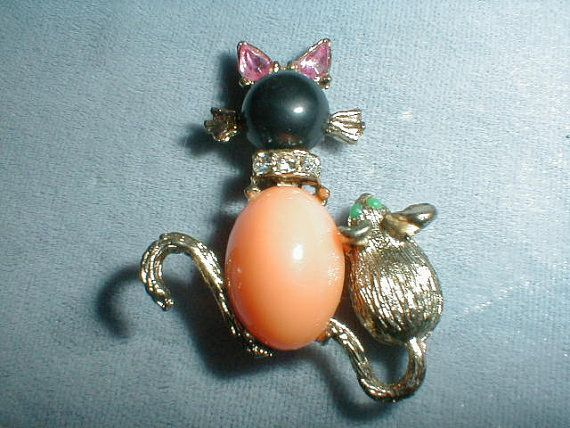 sweet little vintage gp kitty and mouse by fadedglitter42263, $28.00