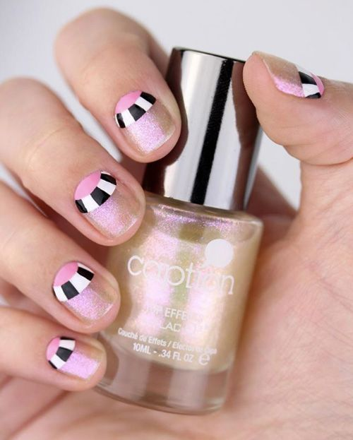 Checkered half-moons shimmery base color by Chelsea King - #nails ...