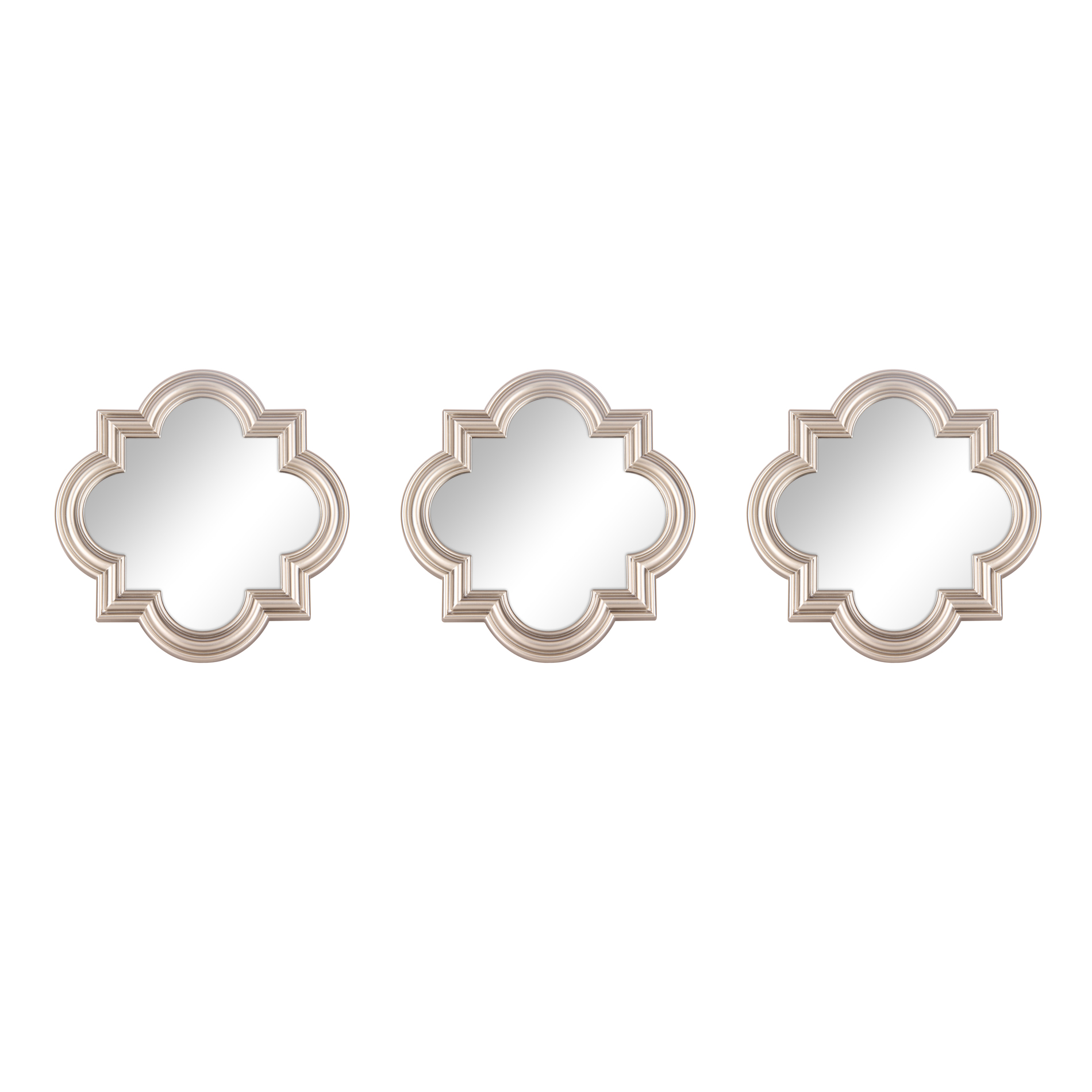 Add Glam Shimmer To Your Home With A 3 Piece Mirror Set The Trendy Quatrefoil Frames In Silver Color Bring Inte Quatrefoil Wall Mirrors Set Stylish Wall Decor