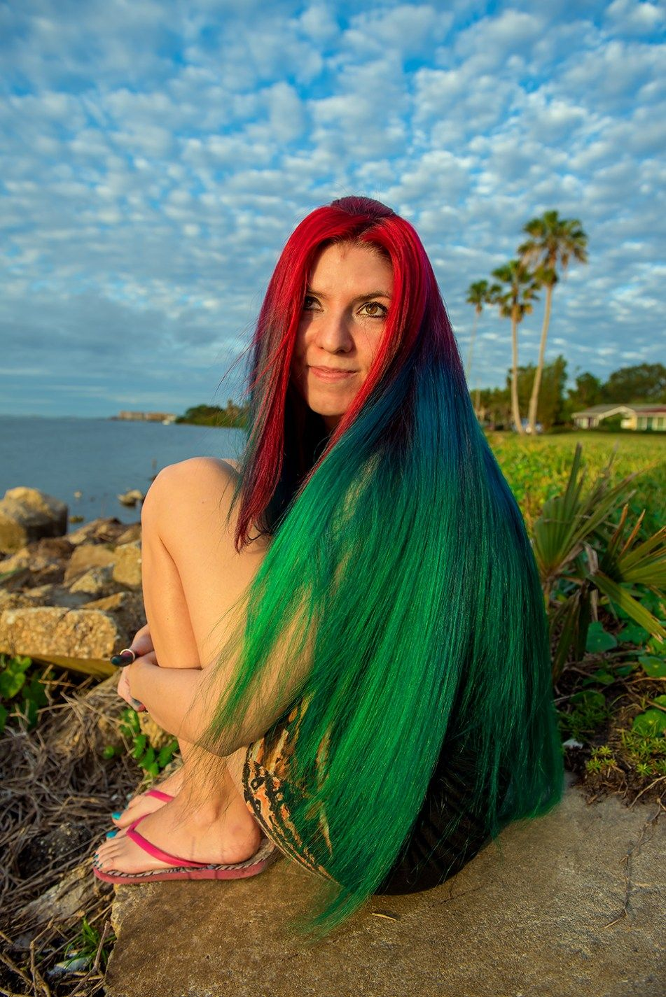 christmas hair red to green gradient 2017 rainbow hair multi colored hair manic panic dye hard lizzy davis