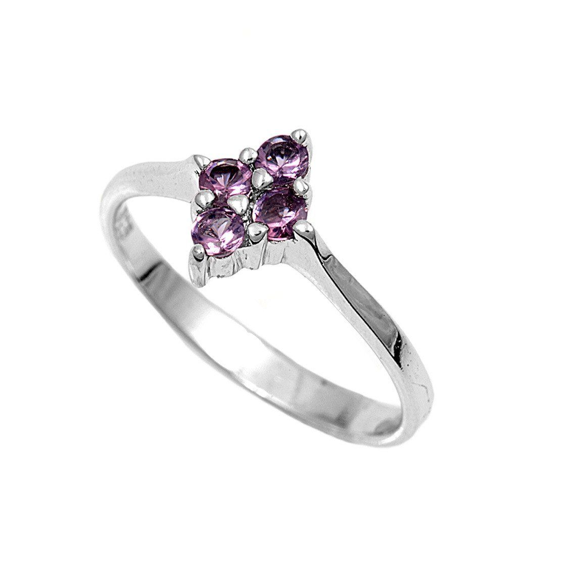 Sterling Silver Starflower CZ Amethyst 2MM CZ Petite Rings
