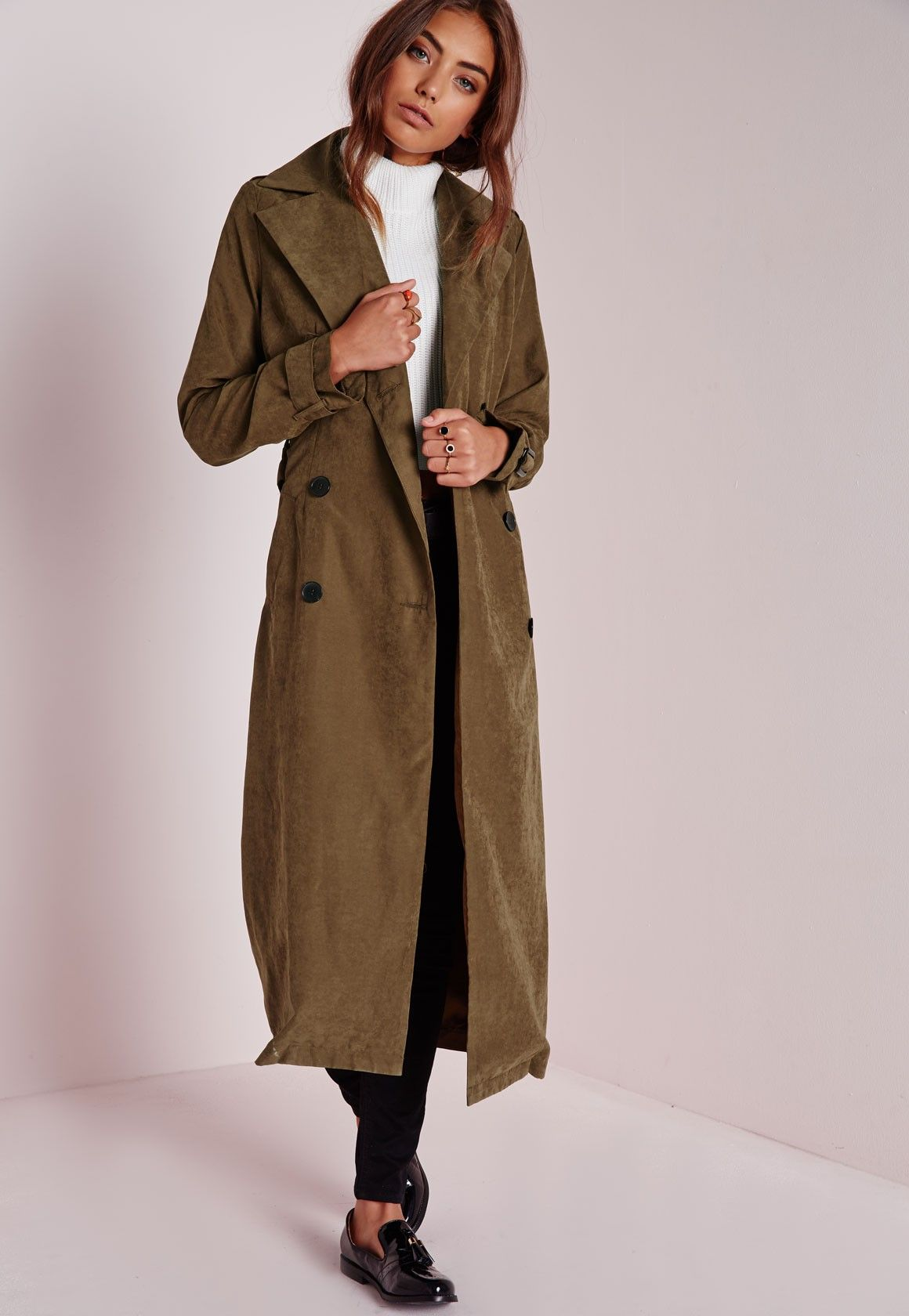 Double Breasted Longline Trench Coat Khaki - Coats and