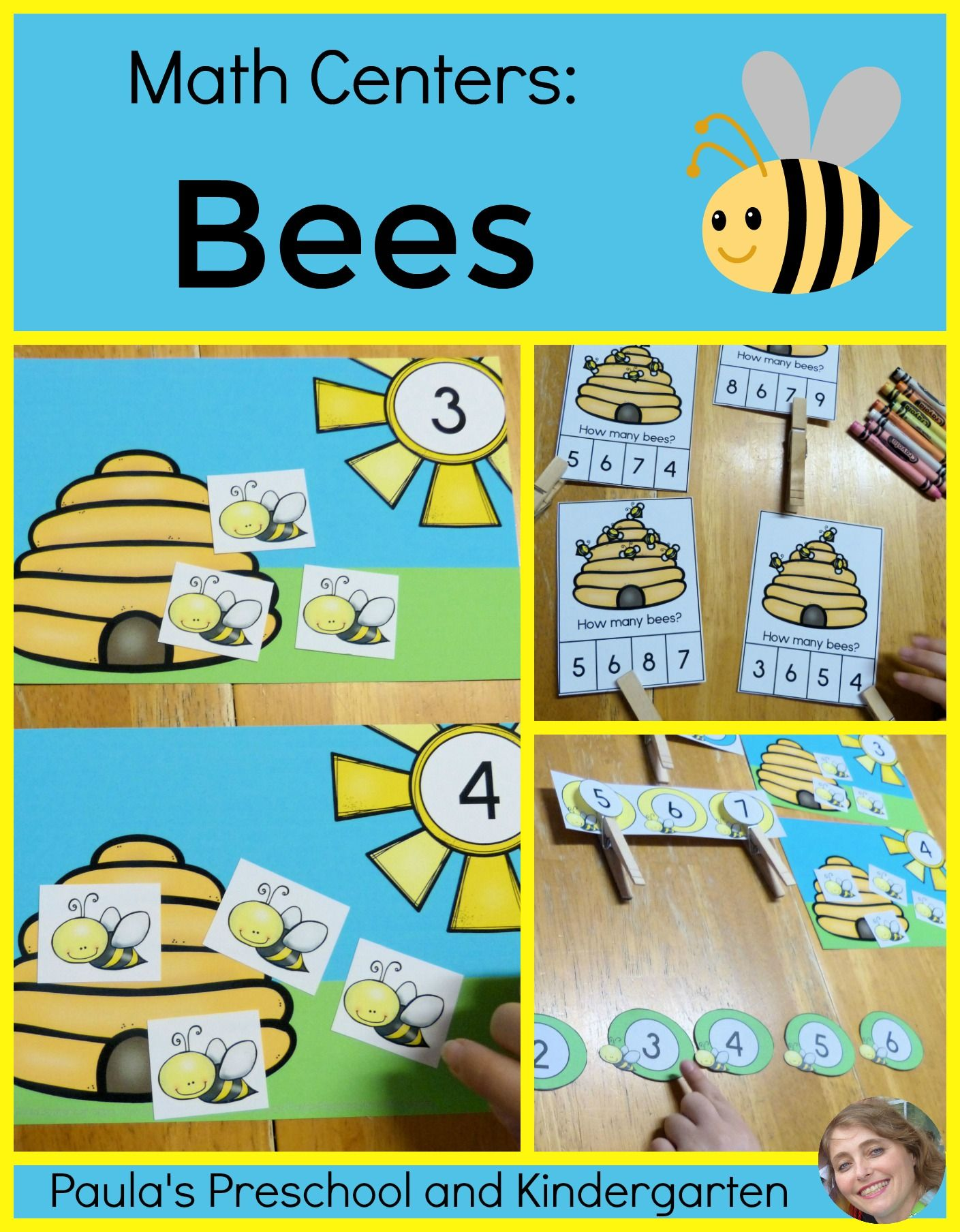 Math Centers Counting and Numbers to 10 - Bee Theme | Kindergarten ...