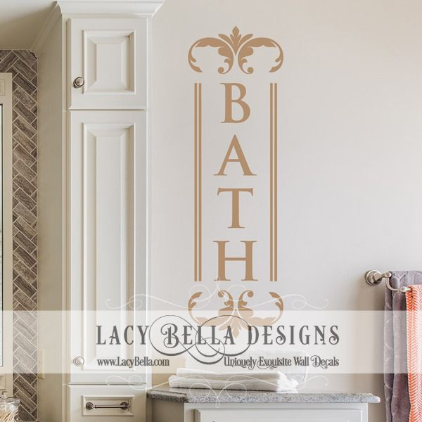 Beautiful Vertical Vinyl Wall Decal Used For Bathroom Beautification