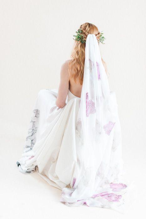 Lorie x Lotus veil. Printed silk chiffon alternative veil with tumbling lotus flowers.
