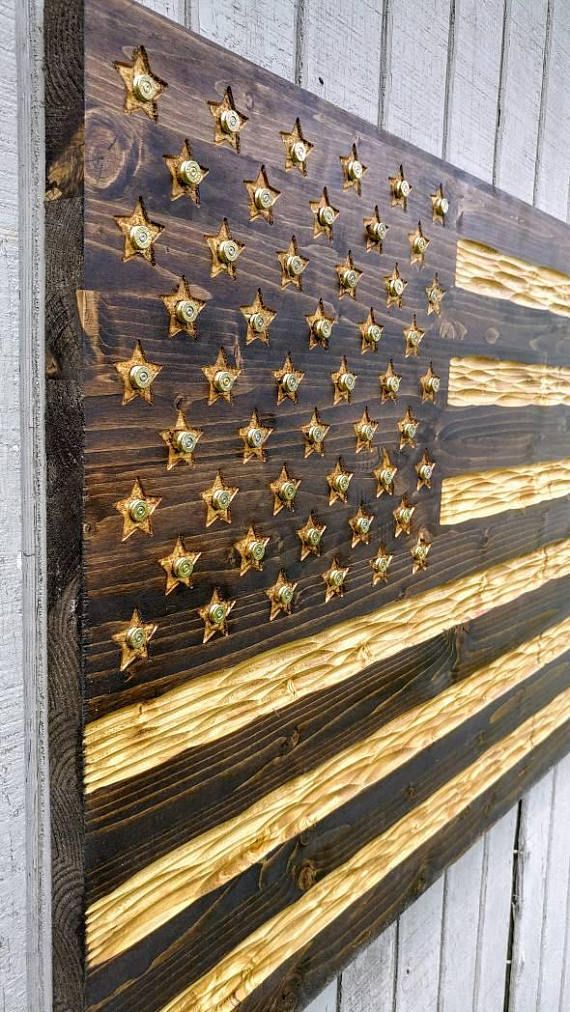 Wooden American Flag with chiseled texture ammo casings centered in all 50 start, rustic USA Flag. FREE Shipping. Made in USA #woodprojects