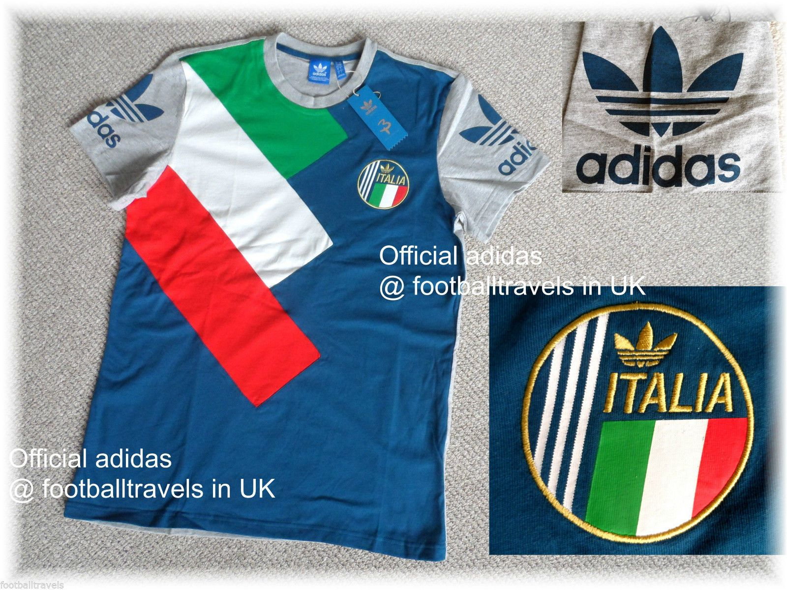 2cbdeb97247 S M L XL Adidas Italia Retro T Shirt Jersey Football Soccer Calcio NEW Italy