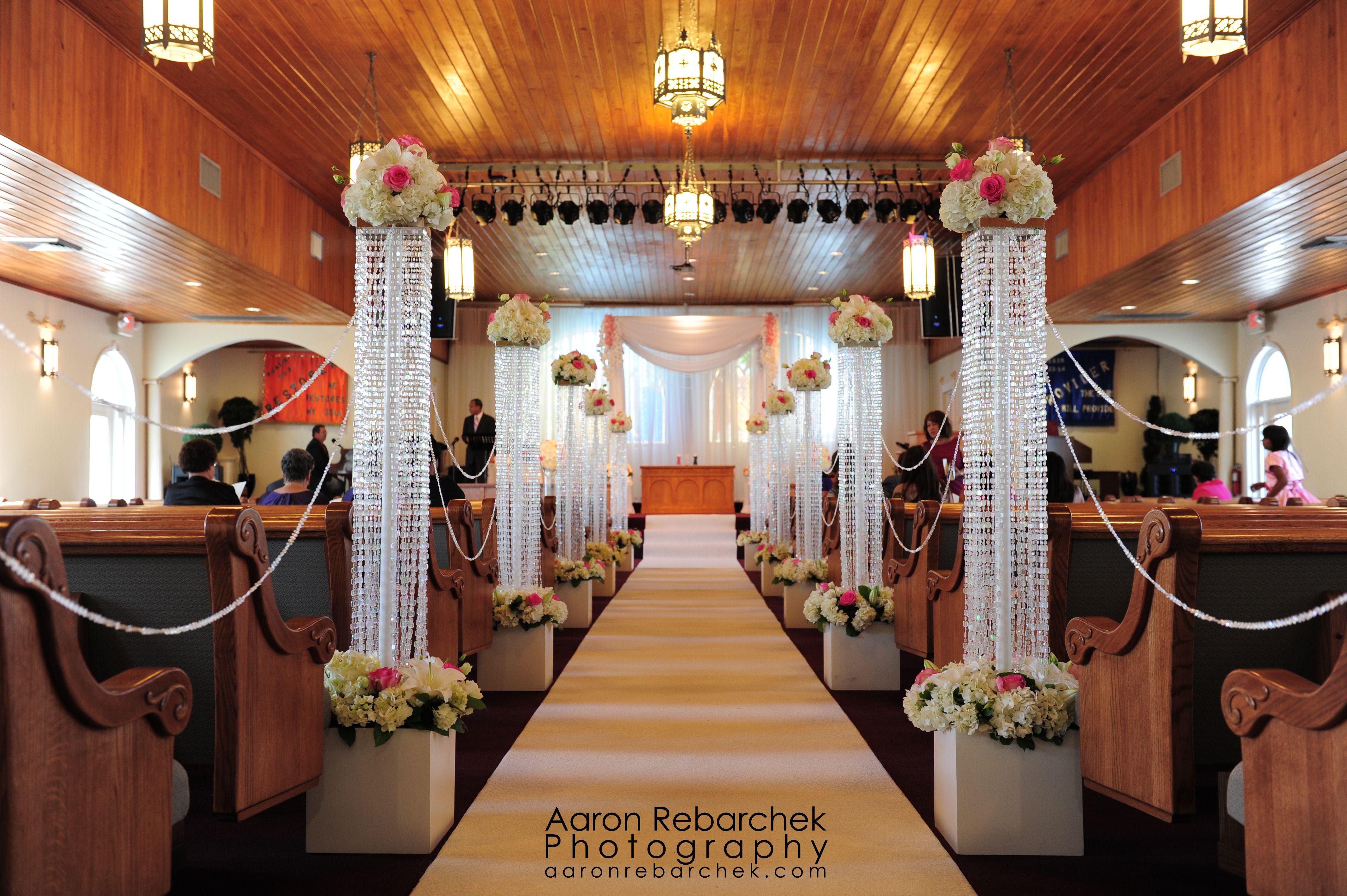 Unique church wedding decoration ideas  Cayman church wedding aisle by Celebrations Ltd  Cayman Weddings