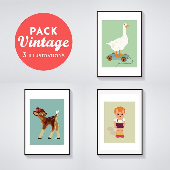 Print  Pack of 3 Posters VINTAGE  George the doll by AdelFabric