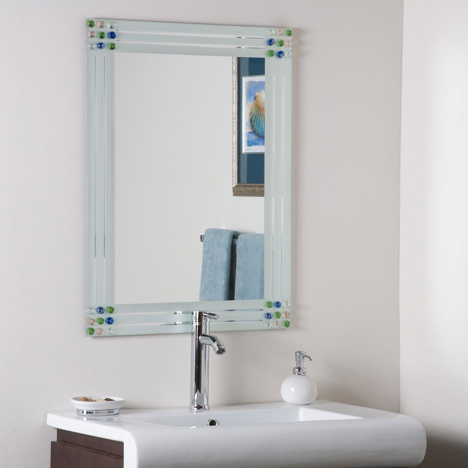 Bejeweled Frameless Bathroom Mirror | Bathroom mirrors, Mirror ...