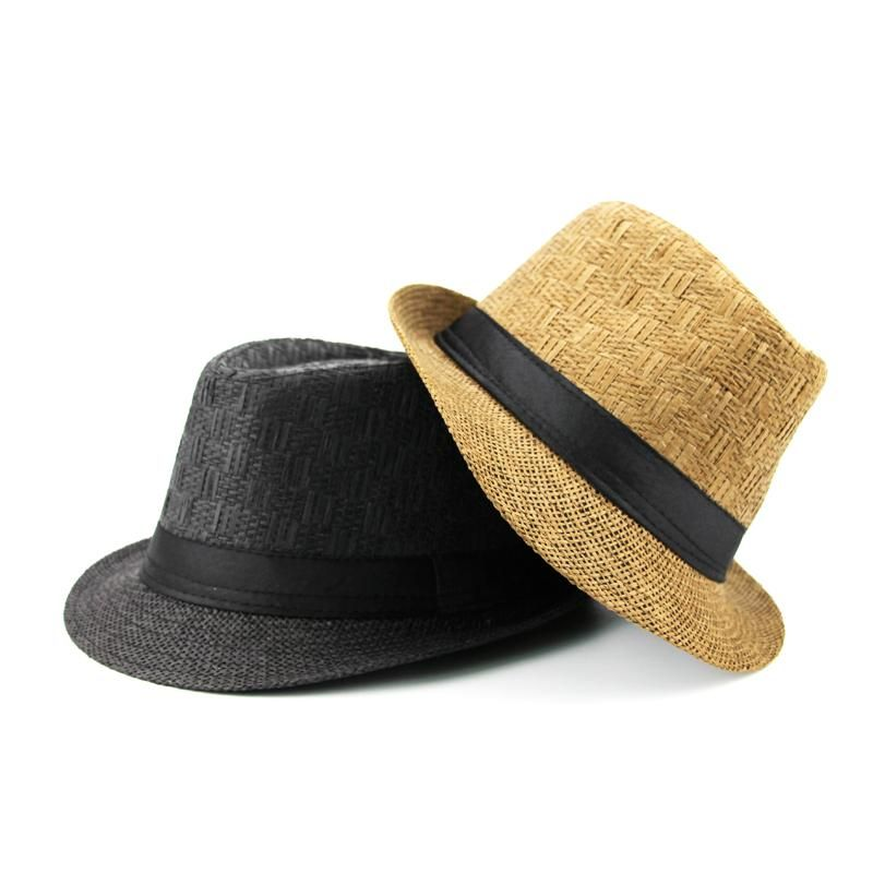 afab7760161 Men s Summer Casual Trilby Straw Panama Jazz Bucket Visor Hat