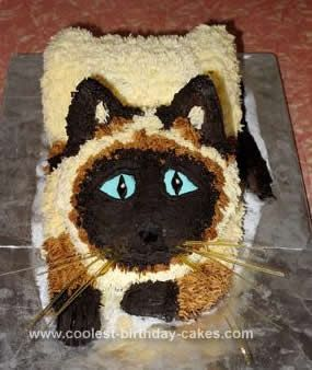 Homemade Siamese Cat Birthday Cake My Daughter Wanted A For Her 6th I Made Three Chocolate Cakes 23cm Round