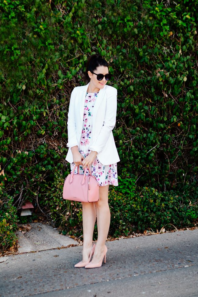Floral dress and white blazer on Kendi Everyday