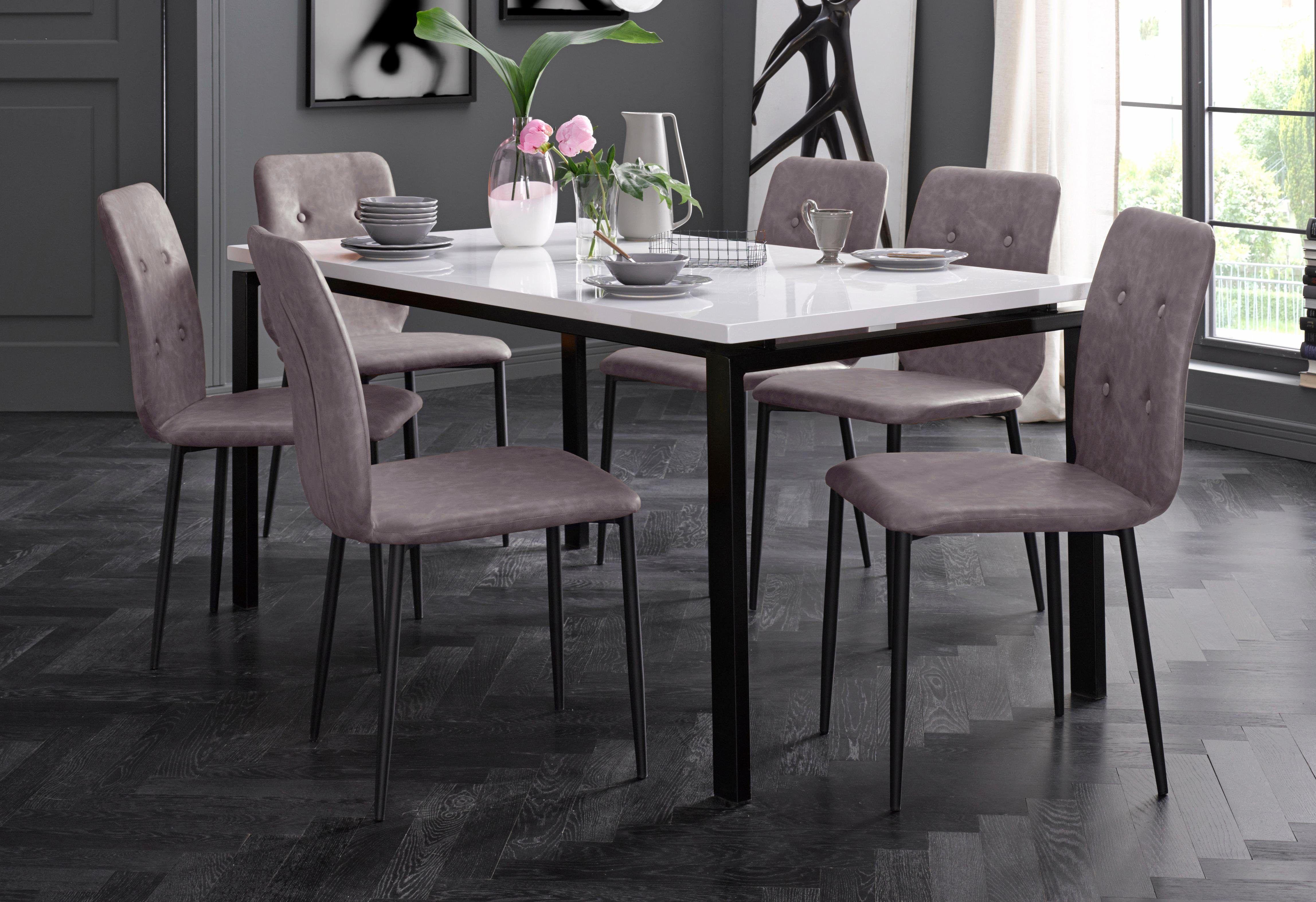 Stühle (2 Stück) braun, pflegeleichtes Kunstleder
