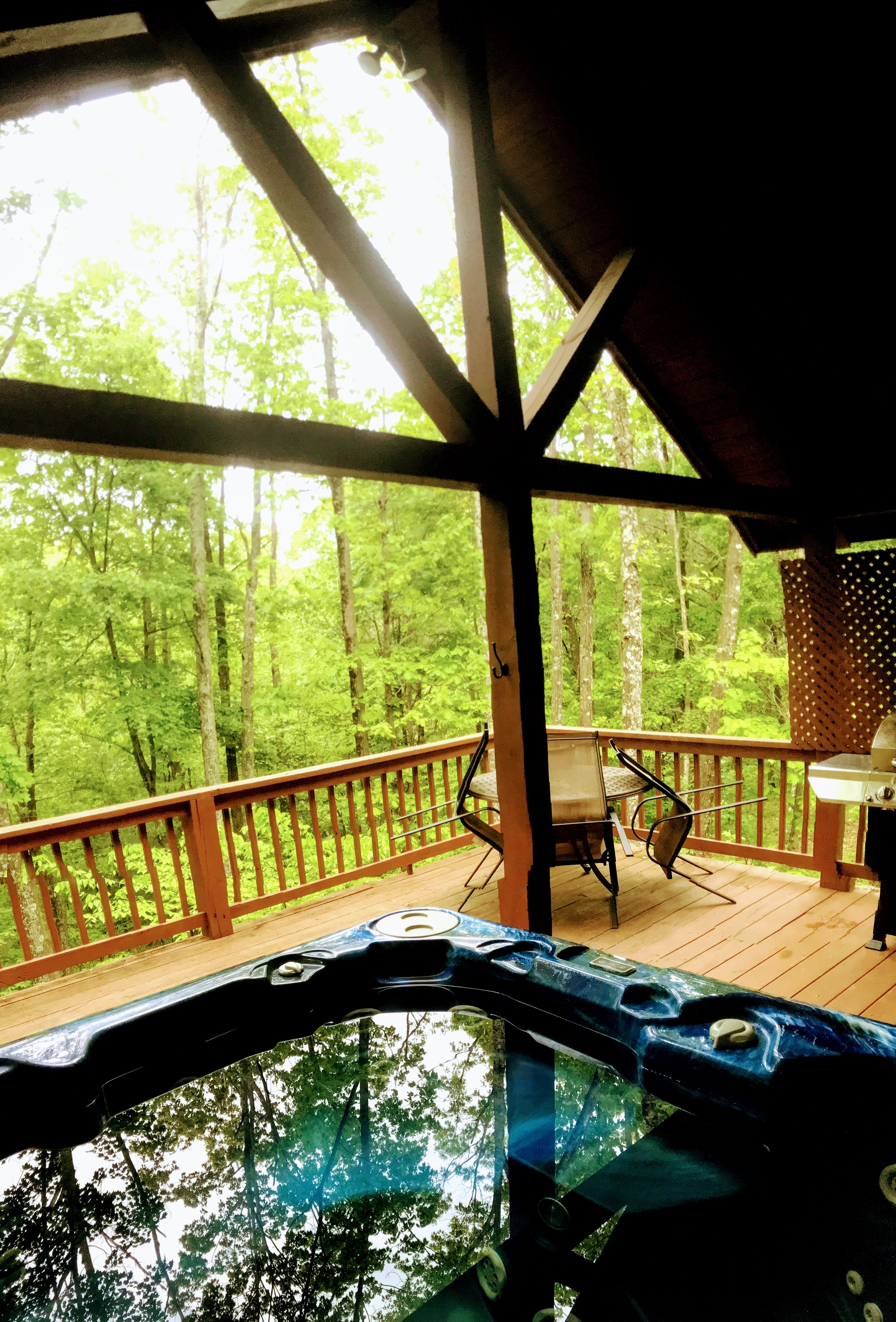 Log Cabin Spring Vacation Relaxing Hot Tub With Beautiful View Hot Tub Custom Built Cabins Cabin Rentals