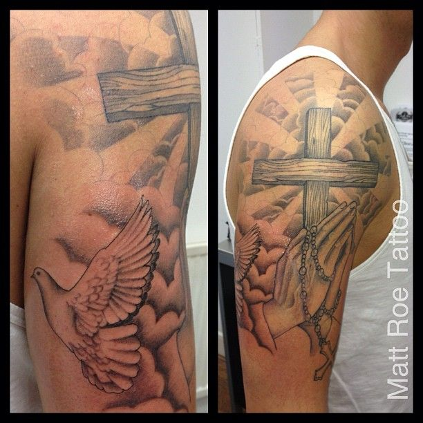 011bfbaeb1f0f #tattoo #religious #praying #dove #clouds adding to religious half sleeve  mostly healed