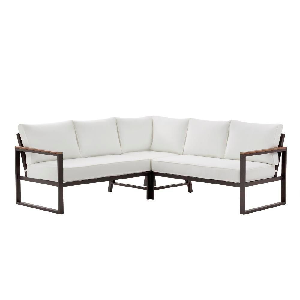 Swell Hampton Bay West Park Black Aluminum Patio Sectional Seating Bralicious Painted Fabric Chair Ideas Braliciousco
